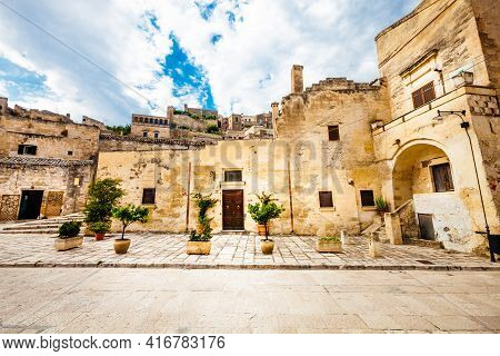 Matera, Italy. July 25, 2015: Old Italian Stone Buildings. Beautiful Scene Of The Ancient City At Ma