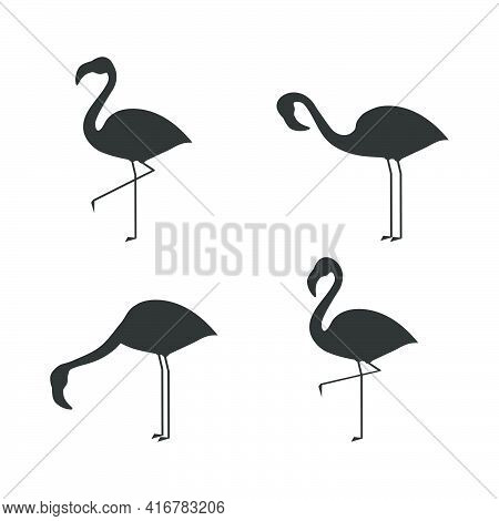 Flamingo Icon Set. Flamingos Black Silhouette In Different Poses. Vector Illustration Isolated On Wh