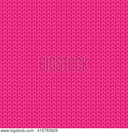 Knitted Fabric Pink Texture. Seamless Pattern Vector Stock Cute Surface Design Girly Fashion Backgro