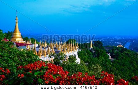 Golden Pagoda On Mandalay Hill, Myanmar