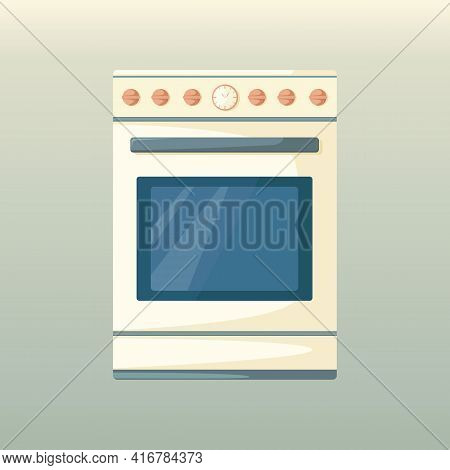 Kitchen Stove With Oven. Appliances. Electric Or Gas Stove. Element Of Kitchen Interior In Cartoon S