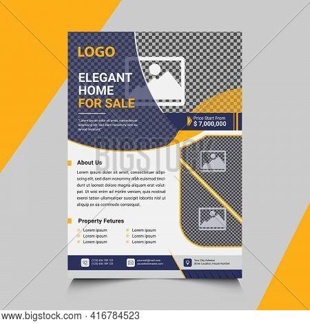 Real Estate Flyer Design, Vector Real Estate Flyer Template Design In Illustrator