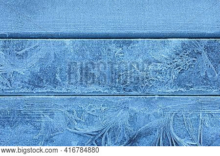 Beautiful Hoarfrost On Wooden Background, Top View