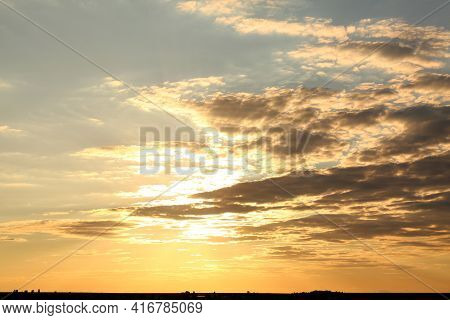 Picturesque View Of Beautiful Sunset. Evening Sky
