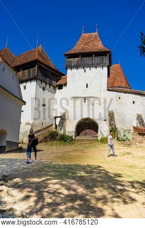 Architectural Details Of Medieval Church. View Of Fortified Church Of Viscri, Unesco Heritage Site I