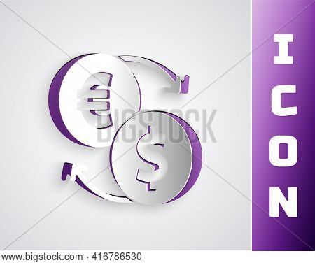 Paper Cut Money Exchange Icon Isolated On Grey Background. Euro And Dollar Cash Transfer Symbol. Ban