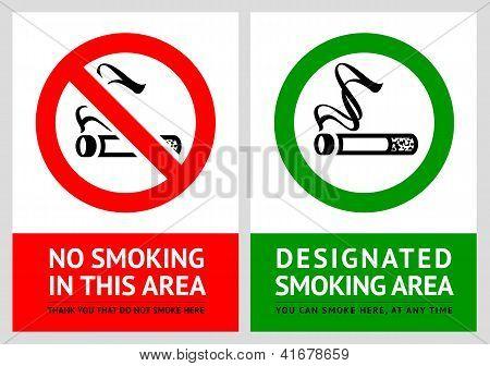 No smoking and Smoking area labels - Set 3