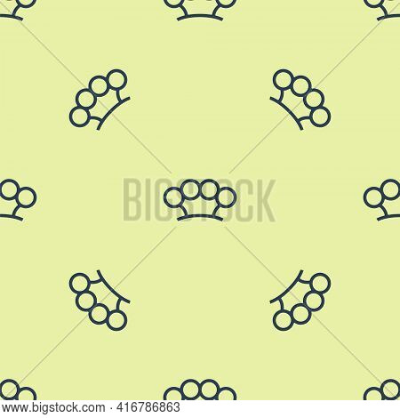 Blue Brass Knuckles Icon Isolated Seamless Pattern On Yellow Background. Vector