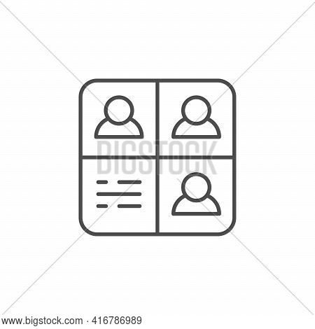 Online Meeting Line Outline Icon Isolated On White