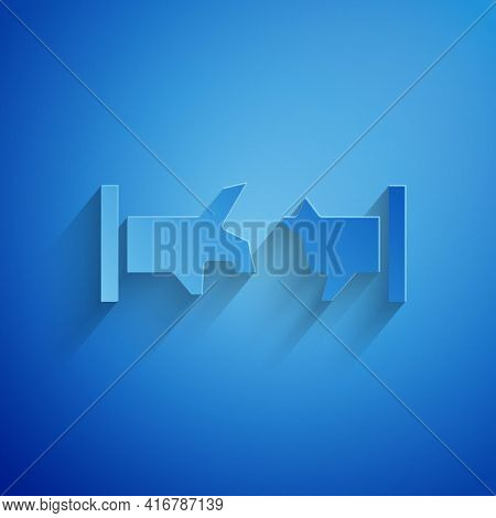 Paper Cut Broken Metal Pipe With Leaking Water Icon Isolated On Blue Background. Paper Art Style. Ve