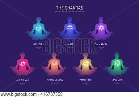 Chakras Energy Lotus Pose Human Vector Set