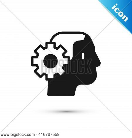 Grey Humanoid Robot Icon Isolated On White Background. Artificial Intelligence, Machine Learning, Cl