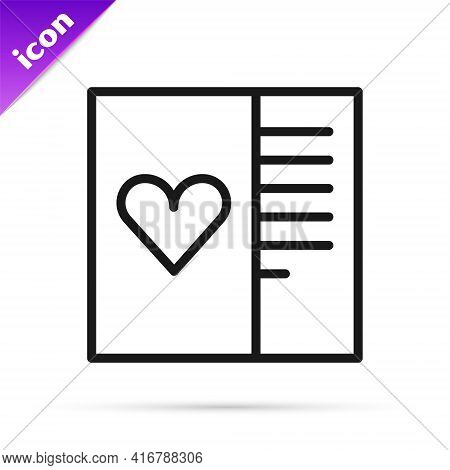 Black Line Postcard With Heart Icon Isolated On White Background. Message Love. Letter Love And Roma