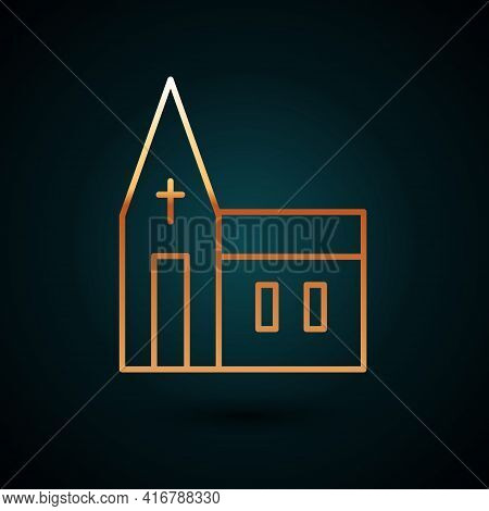 Gold Line Church Building Icon Isolated On Dark Blue Background. Christian Church. Religion Of Churc