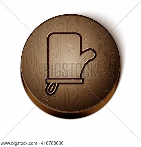 Brown Line Sauna Mittens Icon Isolated On White Background. Mitten For Spa. Wooden Circle Button. Ve