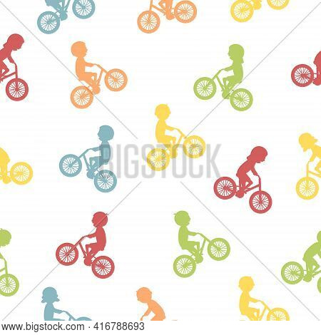 Cute Happy Children Riding Bicycles Silhouettes. Seamless Pattern. Different Kids Ride Bikes. Health