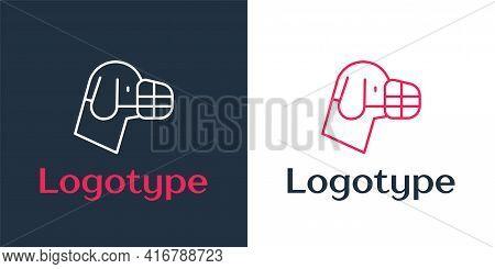 Logotype Line Dog In Muzzle Icon Isolated On White Background. Accessory For Dog. Logo Design Templa