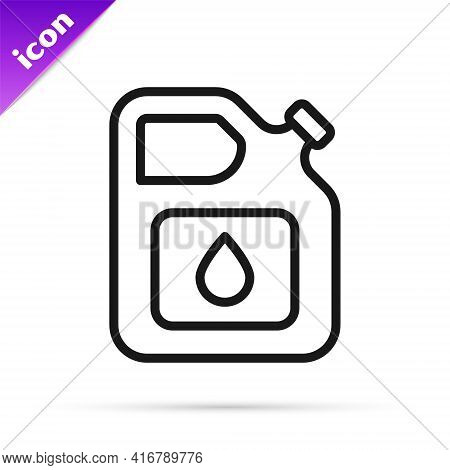 Black Line Canister For Gasoline Icon Isolated On White Background. Diesel Gas Icon. Vector