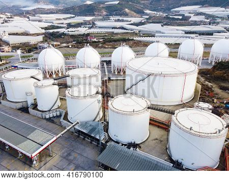 Liquified Natural Gas Storage. Lng Or Lpg Gas Plant. Storage Tanks For Liquefied Gas. Aerial View