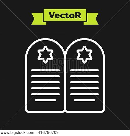 White Line Tombstone With Star Of David Icon Isolated On Black Background. Jewish Grave Stone. Grave