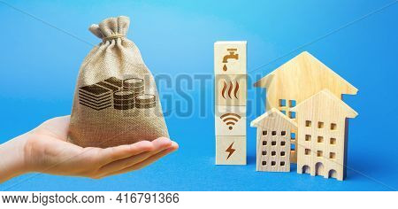Money Bag, Residential Buildings And Blocks With Communal Services Symbols. Utilities Public Service