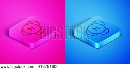 Isometric Line Molecule Icon Isolated On Pink And Blue Background. Structure Of Molecules In Chemist