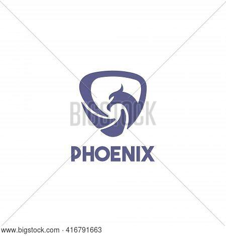 Phoenix Logo Design Template Flat Style Vector Illustration