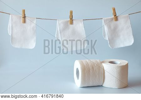 Reusable Toilet Paper Hangs On A Rope. Washable Paper Towels Grafted With Clothespins. Zero Waste Cl