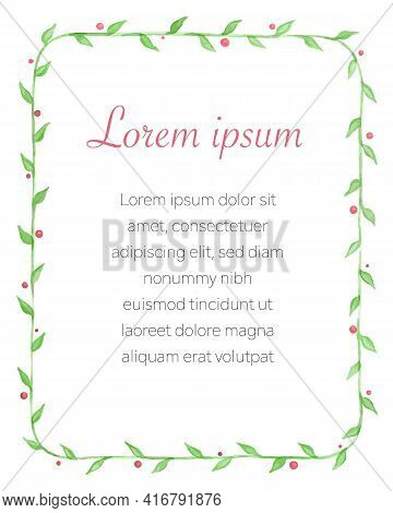 Hand Drawn Watercolour Frame With Floral Elements, Including Green Leaves And Pink Berries, Vector I