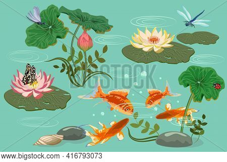 Illustration With Fish And Lilies.water Lilies, Fish And Insects In Color Vector Illustration.