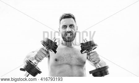 Man Sportsman With Strong Ab Torso. Steroids. Athletic Body. Dumbbell Gym. Fitness Health Diet. Musc