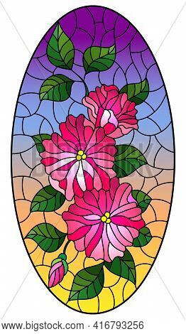 Illustration In Stained Glass Style With Abstract Intertwined Pink Flowers And Leaves On Sky  Backgr
