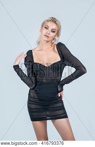 Sexy Lady With Platinum Blonde Hair. Female Beauty And Fashion. Attractive Fashion Model