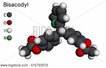 Bisacodyl, Bisacodil  Molecule. It Is Stimulant Laxative Drug For The Treatment Of Constipation, Neu