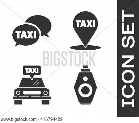 Set Car Key With Remote, Taxi Call Telephone Service, Taxi Car And Map Pointer With Taxi Icon. Vecto