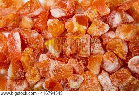 Diced Tomatoes, Quick-frozen Orange And Yellow With White Frost, Useful Products, Vitamins