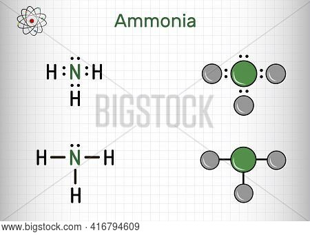 Ammonia, Nh3 Molecule. It Is Pnictogen Hydride, Inorganic Compound Composed Of Single Nitrogen Atom