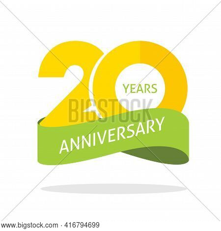 20 Years Anniversary Celebrating Vector Logo Icon In Yellow Orange Green Color, Number 20th Year Bir