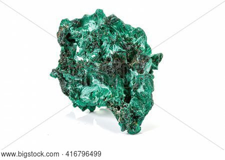 Macro Stone Malachite Mineral On White Background