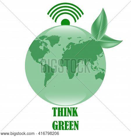 Environmental Protection Concept. Digital Sustainability. Globe, Wi-fi Symbol. Think Green. Environm