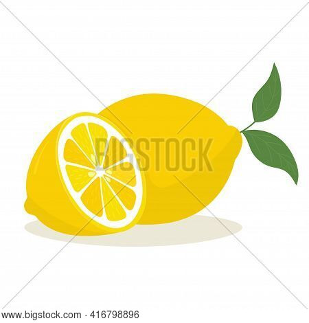 Yellow Lemon With Leaf And Slice. Lemon Is A Fruit That Is Sour And Has High Vitamin C. Vector Illus