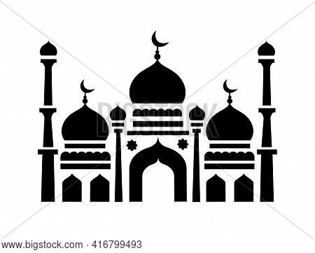 Islamic Mosque. The Holiday Of Ramadan, The Religion Of Islam. Construction In Islam. Black And Whit