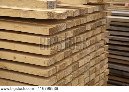 Edged Boards.building Material.the Material Is Made Of Wood.