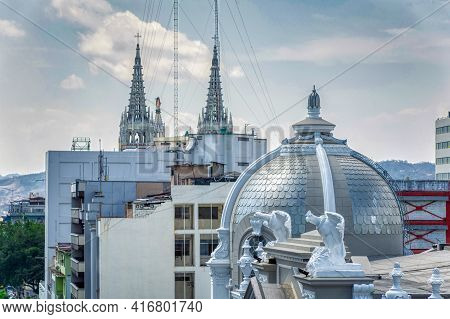 The Dome And Gargoyles At The Top Of The Roof Of The Municipality Building In Guayaquil, Ecuador. In
