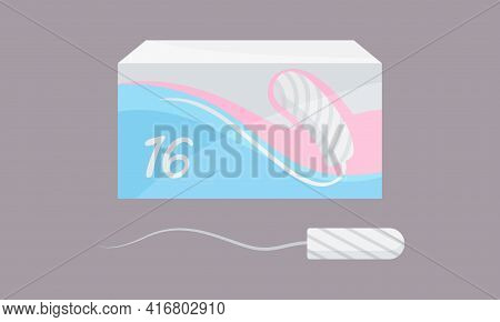 Menstruation Or Period With Female Tampoon Pack Vector Set