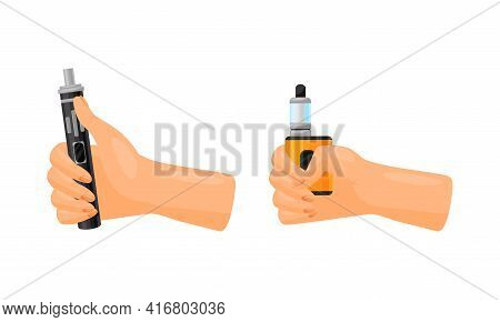 Hand With Electronic Cigarette Simulating Tobacco Smoking Vector Set