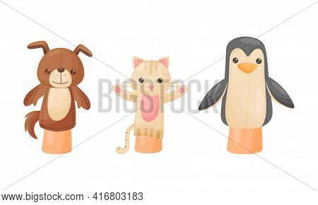 Hand Puppet Toy Made From Fabric Wore By Hand Vector Set
