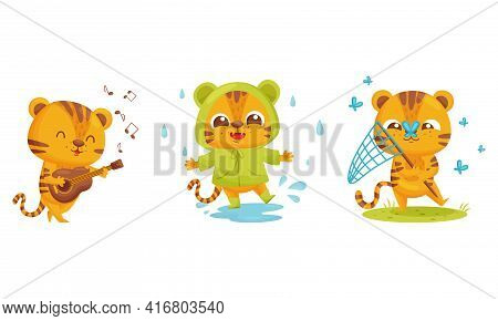 Cute Striped Tiger Playing Guitar And Splashing In Puddle Vector Set