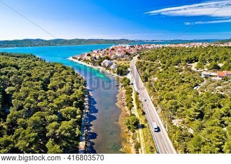 Adriatic Town Of Pirovac And Adriatic Main Road Panoramic Aerial View, Dalmatia Region Of Croatia