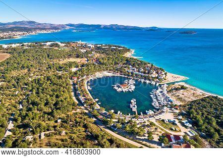 Solaris Sibenik. Adriatic Coast Landscape Aerial Panoramic View, Sibenik Archipelago, Dalmatia Regio